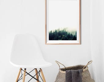 Forest Print, Forest wall art, Trees print, Foggy forest print, Forest photo, Nature photography, Nature wall art, Large forest print