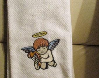 valentine cupid embroidered on kitchen towel
