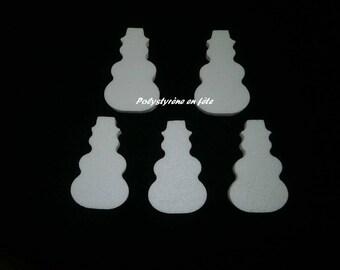 Bonhommes de neige 11 cm en polystyrène -lot de 5 -loisirs créatifs- décoration Noël - Hivers