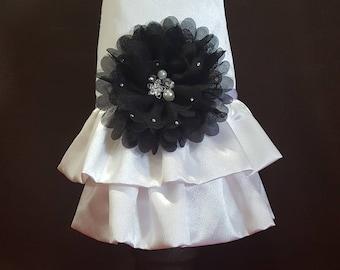 White Satin Formal Dog Dress with Black Bow