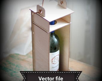 Wine box vector file no glue required, 3D vector file, svg laser file, dxf vector file for cutting, pdf vector file for laser machine