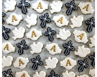 Navy & Gold Baptism Mini Decorated Cookies - One Dozen