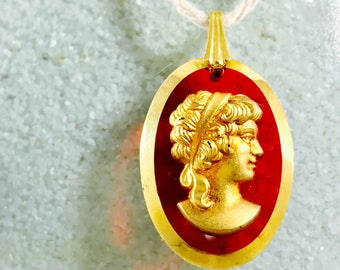 Rare Red Lucite & Gold Tone Vintage Cameo Pendant | Free Shipping