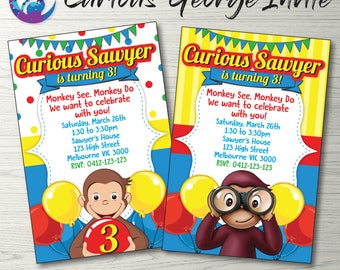 Curious George Invitation, Curious George Photo Invitation, Curious George Birthday Party Invitation, Monkey Invitation, Toddler Invitation