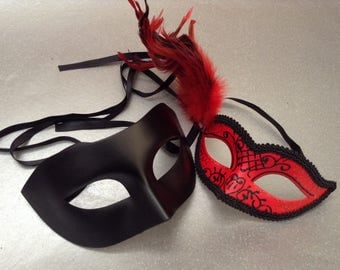 Black Red Costume Birthday Party Couples Masquerade ball mask Pair