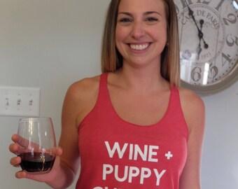 Wine + Puppy Cuddles Tank