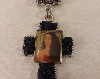 Frida Omega Collar Necklace Cross Crucifix