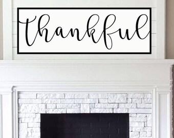 Thankful Sign, Wood Thankful Sign, Fall Thankful Sign, Printable, SVG, Cut File, Cuttable, Wall Art, Print, Vector, Silhouette