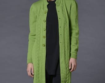 Knit cardigan Chic apple green cable knit aran cardigan Made of pure merino wool Button up cardigan Made to order Chic comfy and warm.