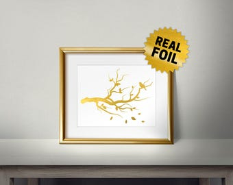 Tree Branch Decor, Real Gold Foil Print, Gold Wall Art, Leaves Fall, Golden Tree Stick, Bird Alone, Tree Wall Print, Gold Tree Branch