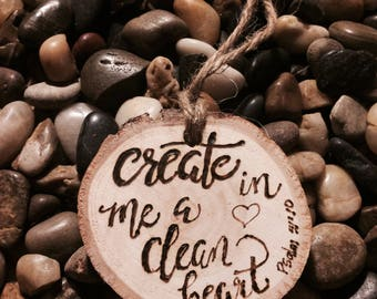 Ornament-psalm- wooden ornament-Pyrography-Christian- scripture-bible-wood