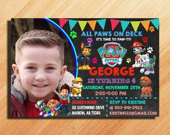 Paw Patrol Birthday Invitation, Paw Patrol Invitation, Paw Patrol Party Invitations, Paw Patrol Invitation Boy, Paw Patrol Birthday Party
