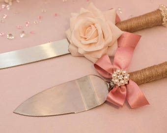 Custom made Cake Knife & Server Set Rustic Vintage Shabby Chic Luxury Wedding Christening or birthday