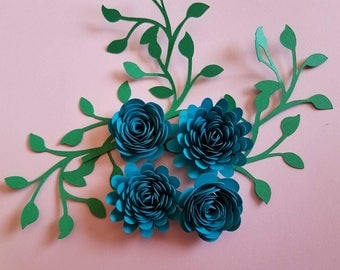 Set of 12 Rolled Paper Flowers, Shadow Box Flowers, Table Decor, Flower Centerpiece