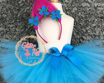 Poppy Troll Tutu Costume with Headband
