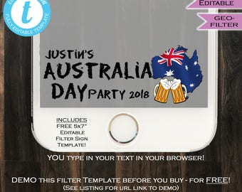 Australia Day Snapchat Geofilter Aussie Holiday Summer Party January 26 Aussie Pride Oi Oi Personalize Custom Digital INSTANT Self EDITABLE