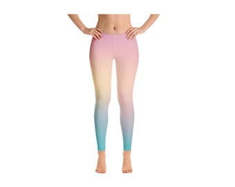 Rainbow Pastel Fitness Leggings, Pastel Yoga Leggings, Ombre Workout Leggings, Unicorn Leggings, Rainbow Leggings, Gym Leggings, Yoga Pants