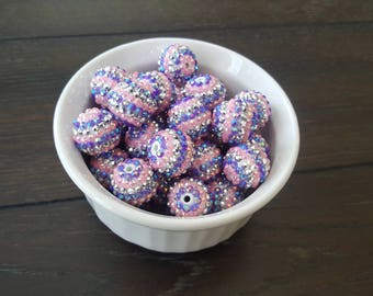 Pink, Lavender, Silver Rhinestone 20mm Chunky Bubblegum Gumball Beads