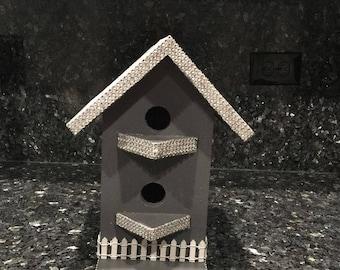 Birdhouse Rhinestone Rough Sawn Cedar