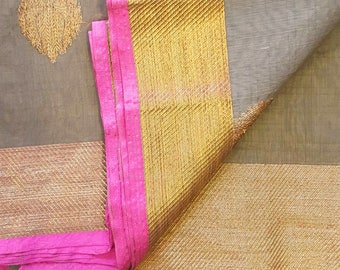Grey & Pink Kota Silk Saree