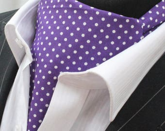 Cravat Ascot UK Made Damson & White Polka Dot. Cravat Hanky.Premium Cotton