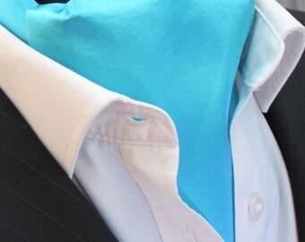 Cravat Ascot. 100% Silk Front. UK Made. Blue Habotai Silk + matching hanky.