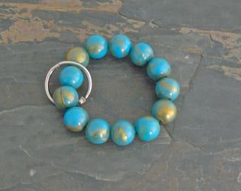 Keychain Bracelet, Bracelet Keychain, Beaded Keychain, Key Wristlet, Handsfree Keychain, Bracelet for Keys,  Fashion Keychain, Blue Gold