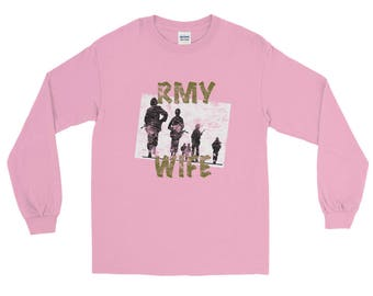 Military ARmy Wife Distressed All Jersey Knit Tee Shirt Long Sleeve T-Shirt