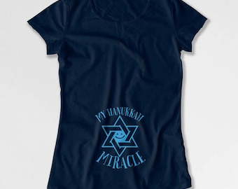 Hanukkah Pregnancy Announcement T Shirt Maternity Reveal Pregnant Clothes Chanukah Gifts For Expecting Mothers To Be New Baby TEP-513