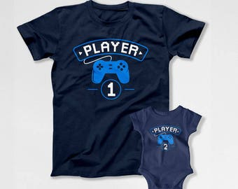 Father Son Matching Shirts Dad And Daughter Daddy And Me Outfits Family T Shirts Fathers Day TShirt Gaming Tee Player 1 Player 2 TEP-271-272