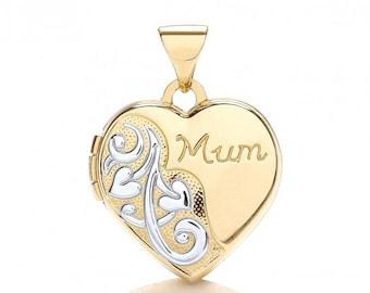 9ct Yellow & White Gold Heart Shaped 2 Photo Mum Engraved Locket Hallmarked