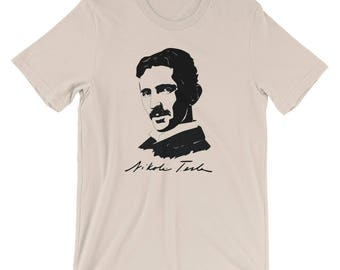 Genius Inventor Nikola Tesla Portrait and Signature Short - Sleeve Unisex T-Shirt
