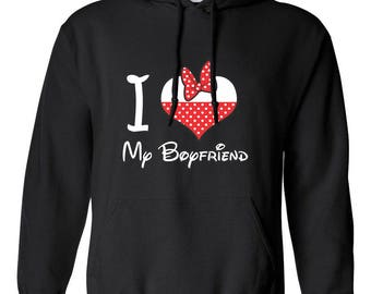 I Love My Boyfriend Minnie Head Printed Design Adult Hooded Hoodies Sweatshirt For Women and Men