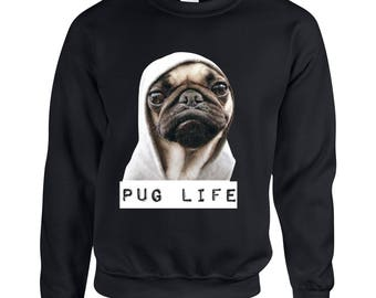 Pug Life Adult Printed Pug Sweater Design Clothing Unisex Sweatshirt Crew Neck for Women and Men