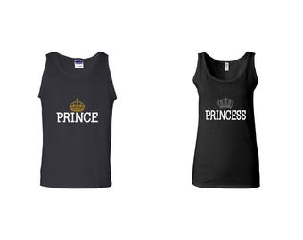 Valentine Gifts Prince Princess COUPLE Printed Adult Tank Tops Unisex  Tops for Men Women Best Seller Matching Clothes