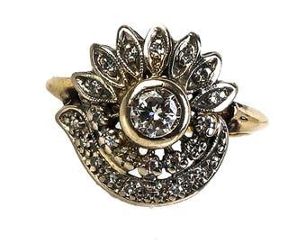 Art Deco 14K Two-Tone Gold and Diamond Foliate Ring