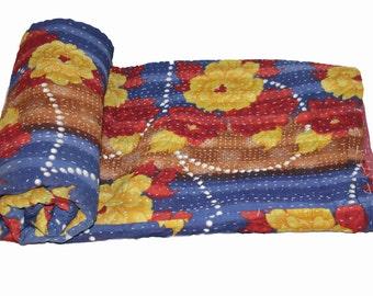 Cotton Twin Handmade Reversible Vintage Sari Kantha Quilt Twin Old Cotton Kantha Bedspread Kantha Gudri Cotton Blanket 145
