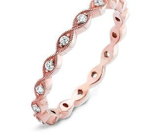 Hand detailed Diamond Stackable ring, 14K Rose Gold