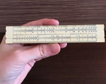 Vintage Small Logarithmic Ruler -  USSR analog calculator - Old USSR Ruler Logarithmic - Wooden logarithmic ruler - Logarithmic slide rule