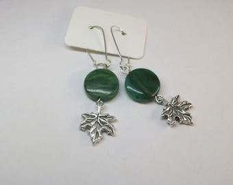 African jade with maple leaf charm earrings