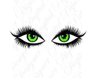 Green Eyes SVG and Studio 3 Cut File Cutouts Files Design Logo for Silhouette & Cricut SVGS Disney Decals Files Face Digital Download