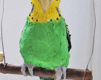 Lifelike budgie(parakeet) on a swing, green or blue, lightweight.