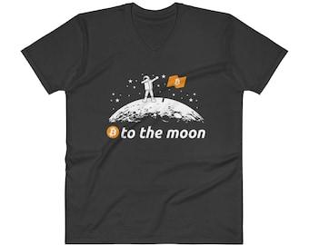 Bitcoin to the Moon Shirt BTC Bitcoin T-Shirt V-Neck Crypto Gift - Custom Order