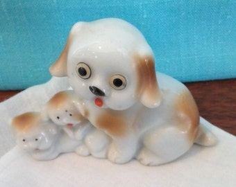 "Vintage Porcelain Dog and Puppies Figurine, about 2 1/4"" h.  made in Japan"