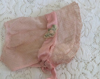 "Antique Bonnet Baby Doll French Silk Rosettes Ribbon Pink 11"" around face A43"