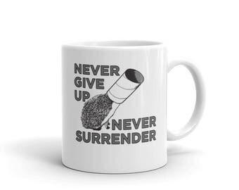 Hedgehog Ceramic Coffee Mug Never Give Up Never Surrender Hedgehog Mug A Pricklepants Original Design by Urchin Wear A Cute Hedgehog Gift