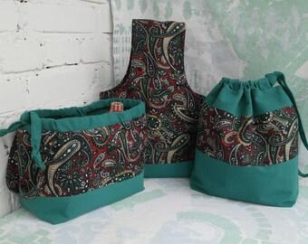 Knitting bag Set of 3 knitting bag Gift for knitters DPN holder Drawstring knitting bag Yarn bag Knitting storage bag Crochet project bag