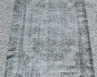 Gray Overdyed Rug 4.9 x 8.3 ft. Vintage Turkish Rug. Living Room.Carpet,Vintage Oushak Rug. Antique Rug. Anatolian Rug.Floor Rug