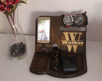 Nightstand Anniversary Gifts for Him, Valentines day gift for him, Anniversary for him, Him Gift , Personalized Dock Station Men Organizer