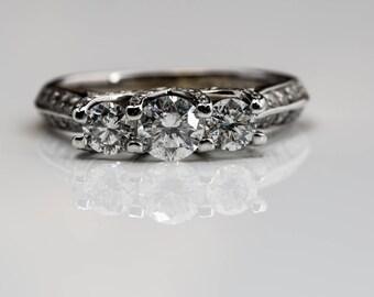 Women's Authentic Diamond 14K White Gold, 1.05+ctw. 3-Stone Ring, Appraised 5K
